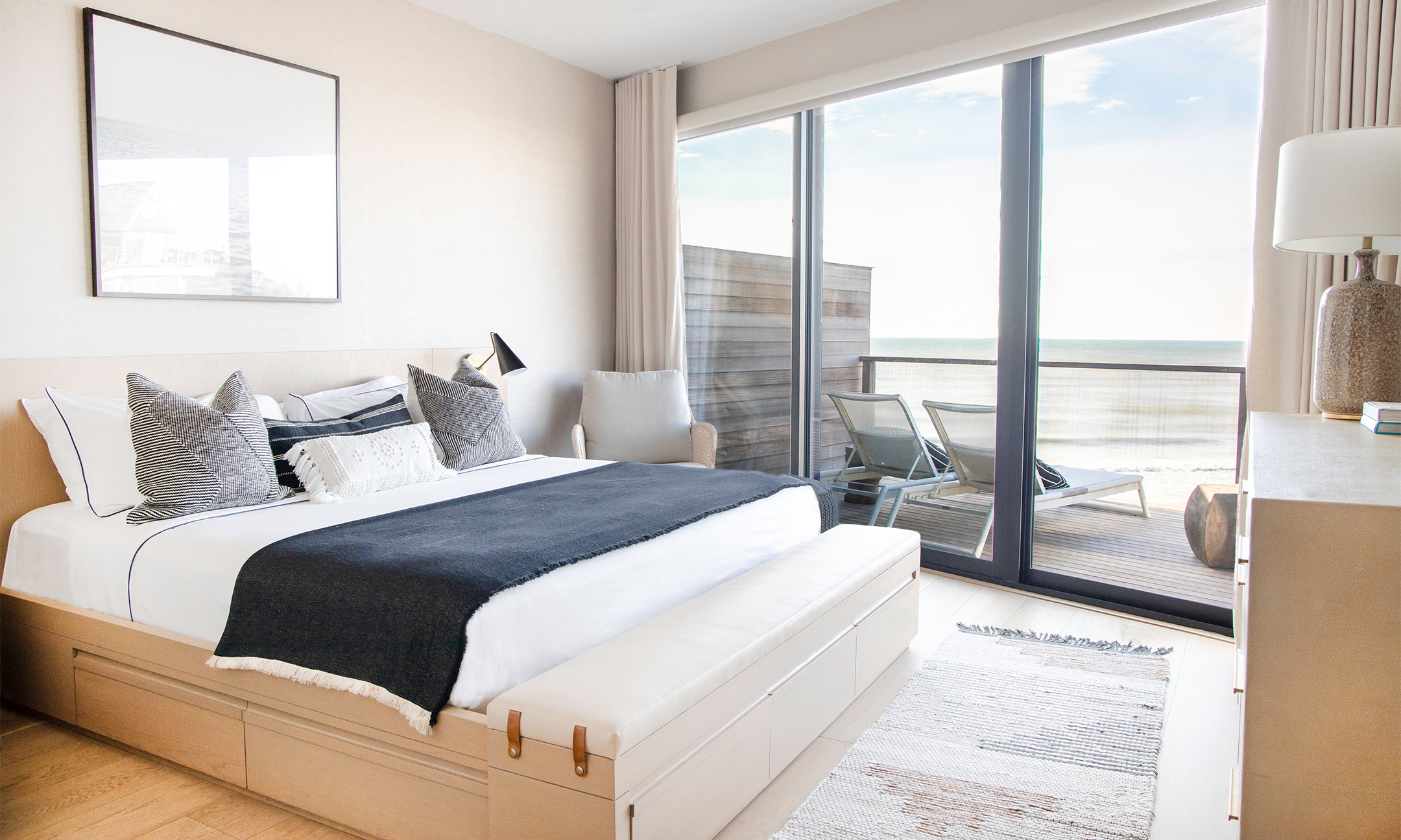 Residence bedroom with view of the ocean