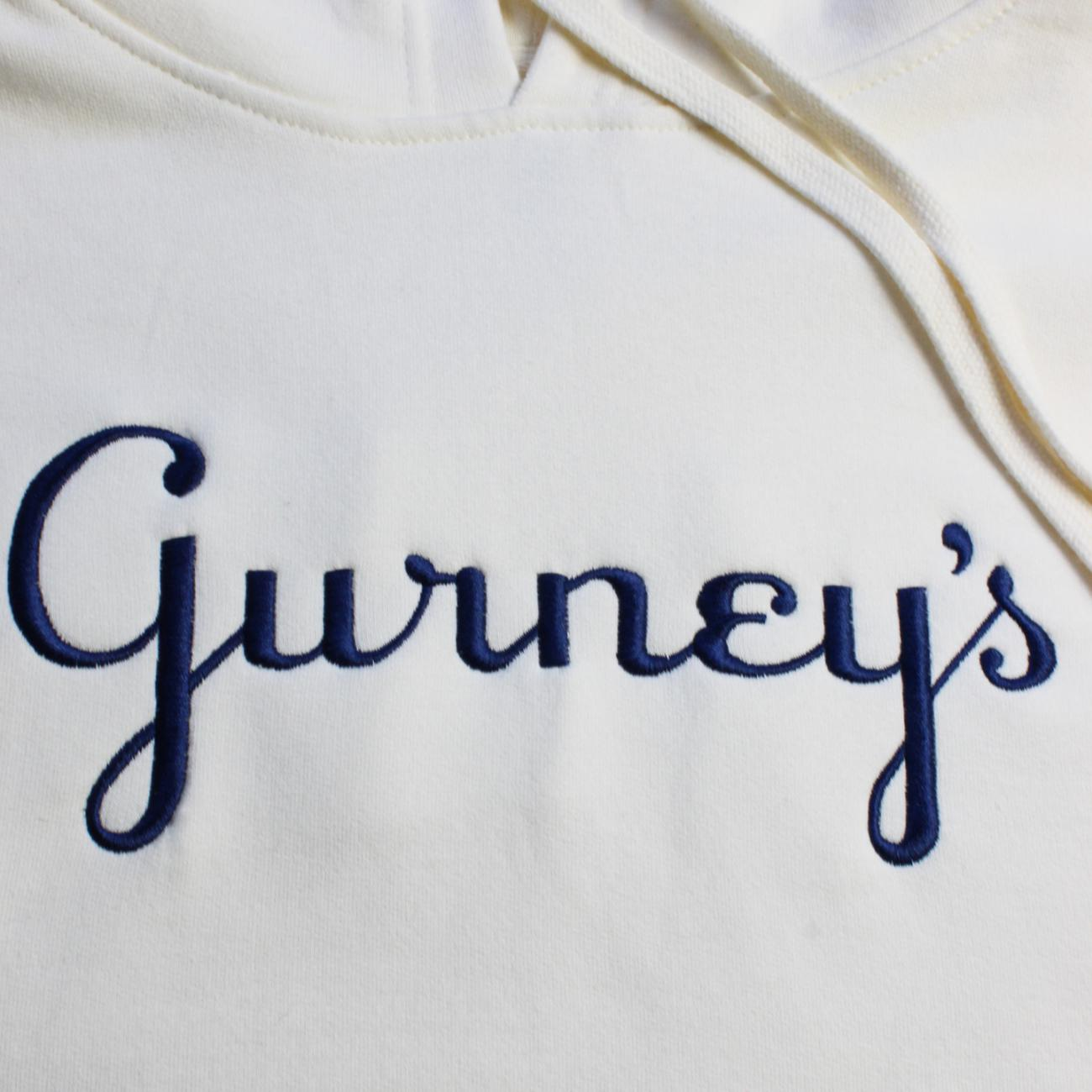 Gurney's Hoodie embroidered across chest bone