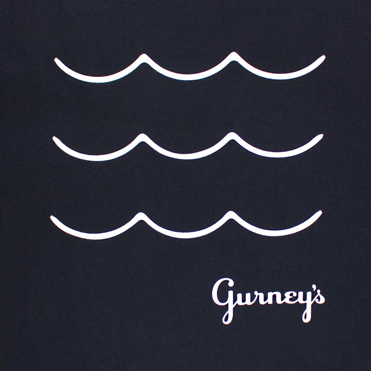 Gurney's Wave screened across chest navy