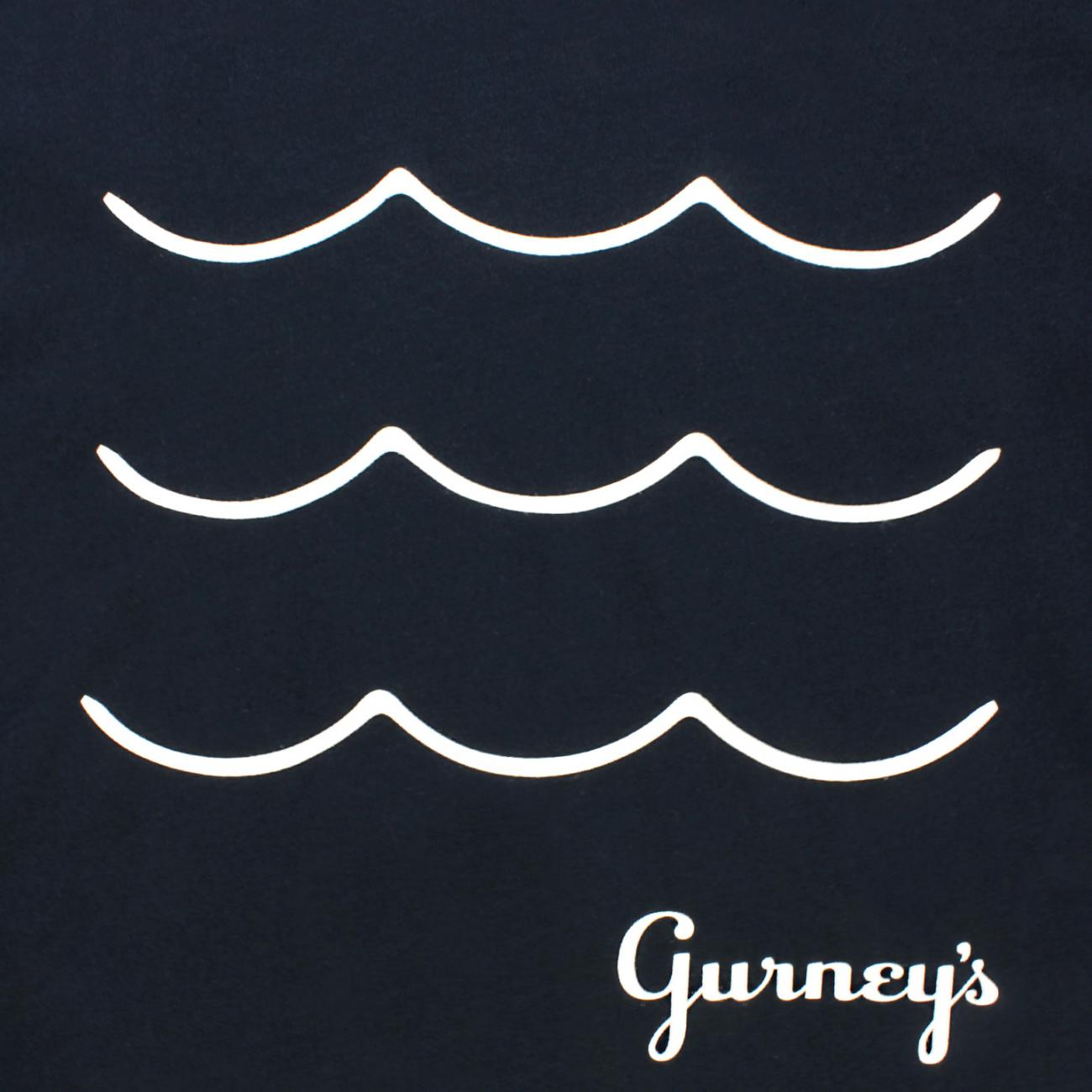 Gurney's T-shirt Wave screened across chest navy