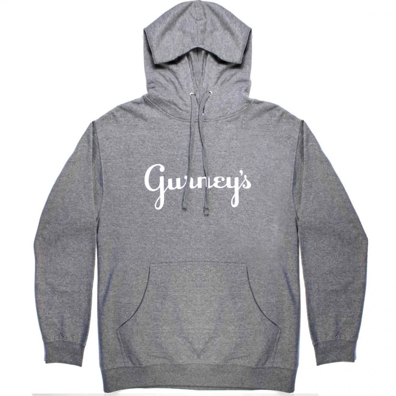 Gurney's Hoodie screened across chest front charcoal